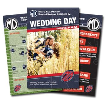 Wedding Day Program custom designed for a football themed wedding. Contact us today to pair you up with one of our supremely talented graphic artists.