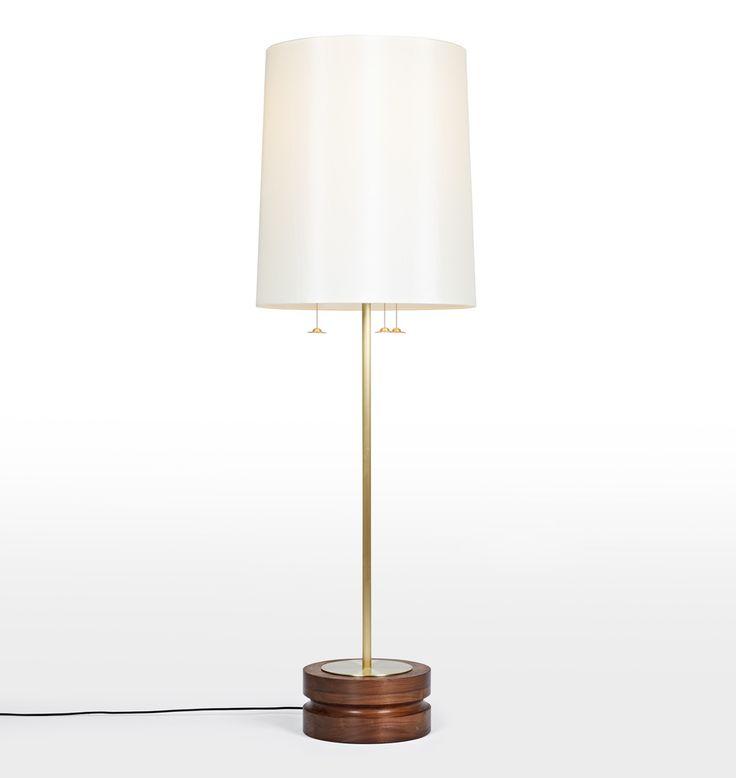 O&G Jena Floor Lamp Walnut with Ivory Shade A1150