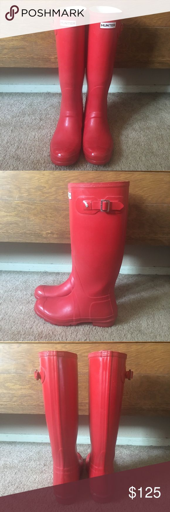 Hunter Rain boots Tall Red Hunter Welly Rain Boots US size 8/9. Excellent condition. I never wear them due to it hardly rains in Los Angeles. ❌NO TRADES❌ Hunter Boots Shoes Winter & Rain Boots