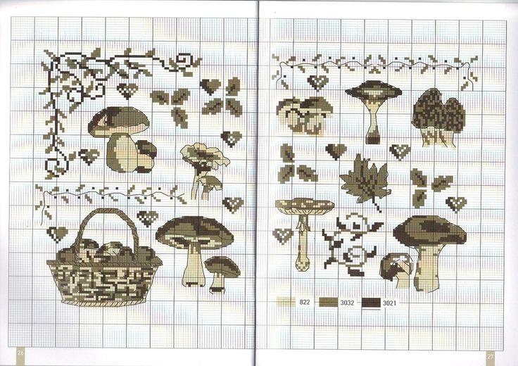 0 point de croix grille et couleurs de fils champignons en fôret