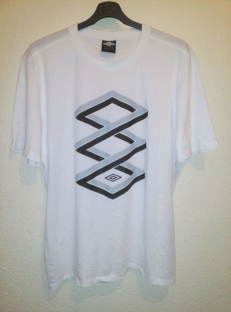 UMBRO Mens White Interlocking Logo Print Crew Neck T Shirt Size XXL 2XL