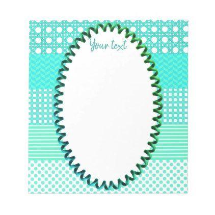 Pastel Turquoise Pattern Mix Notepad - pattern sample design template diy cyo customize