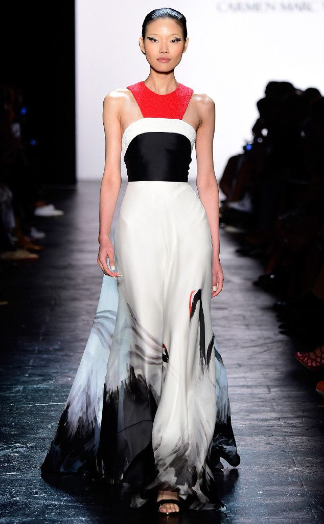 Marc Valvo Spring 2016 from 2016 Golden Globes Dress Predictions  A pop of color would be refreshing in what is sure to be a sea of solid mermaid gowns.