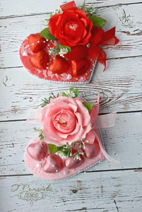 Gallery.ru / Сладкие мини-валентинки. - Букеты и композиции с использованием конфет. - Galina2405