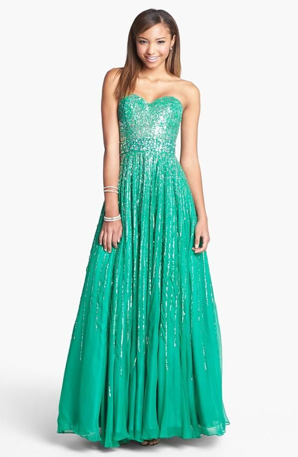 Long, teal, sparkly dress