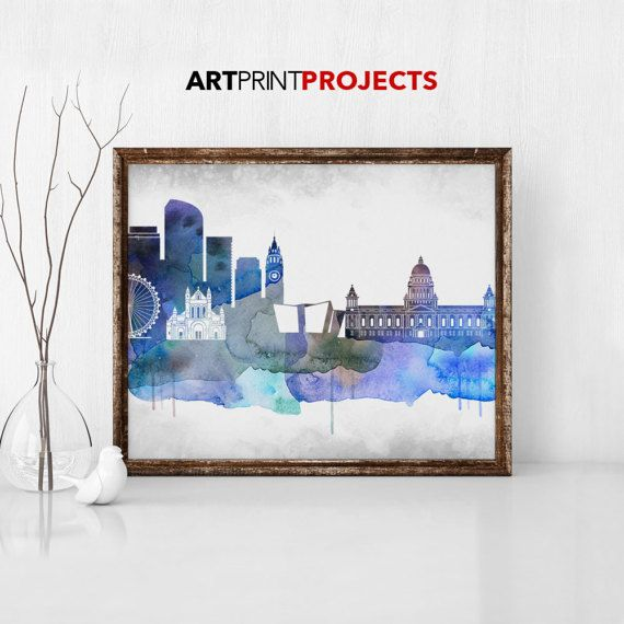Belfast watercolor Skyline Belfast Cityscape by ArtPrintProjects