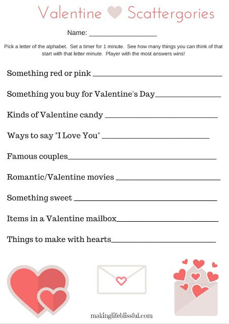 Free Printable Valentine Scattergories game! Perfect for school parties, couples, and friends!