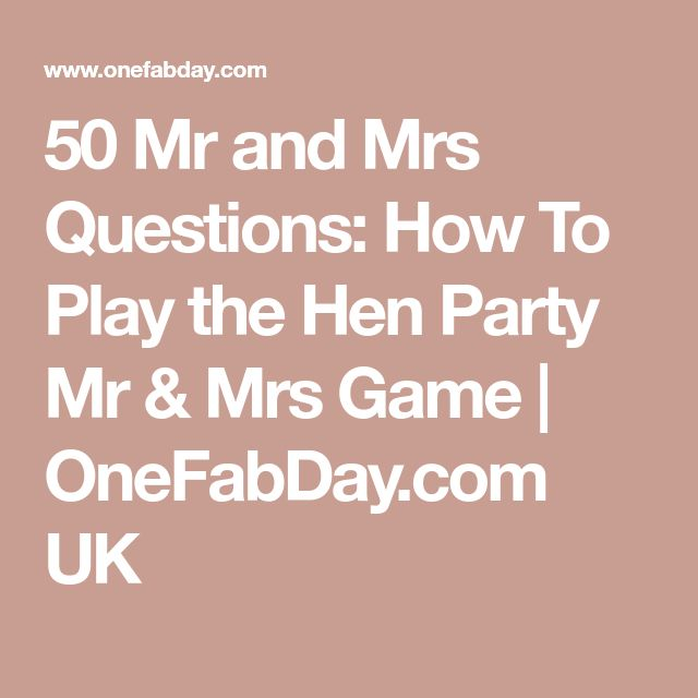 Mr And Mrs Hen Game: The Most Popular Hen Party Game EVER
