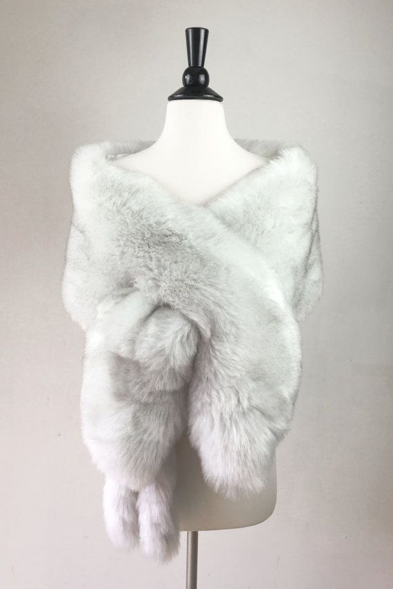 light gray fur shawl Ivory fur bridal wrap by SissilyDesigns