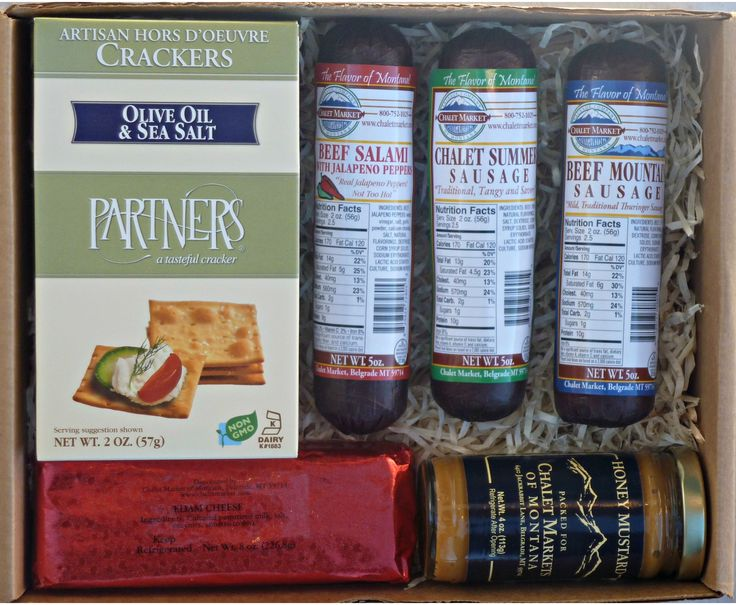 Sausage, Cheese and Cracker Mini Gift Box. Our three beef sausages combined with cheese, crackers and mustard makes the perfect gift.  Made in Montana.