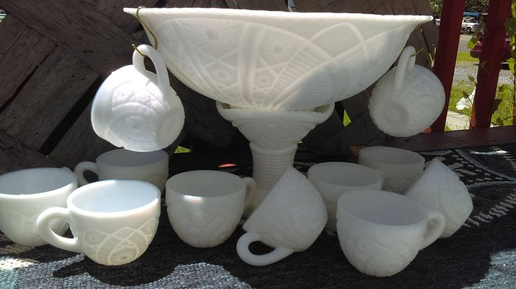 Exquisite McKee The Concord Milk Glass Punch bowl Set w/Stand 11 Cups and bonus Hooks by TheCelticBelle on Etsy