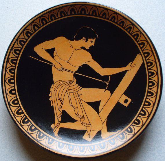 Copia dipinta a mano da una antica kylix greca di MITOliberty, carpenter painter, british museum. #handpainted replica #plate from ancient #greekart
