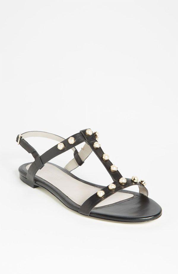 2015 Мода Удобные Сандалии Женщин Обувь Для Женщин Плоские Каблуки Т-ремень Заклепки Лодыжки Ремень Пряжка Ремень Летние Случайные сандалии