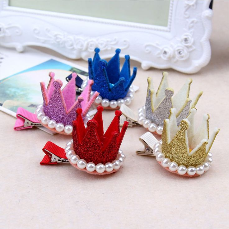 1PC New Cute Crown Pearl Crystal Hair Clip Baby Girls Birthday Party Hairpins For Little Princess Kids Headband Hair Accessories