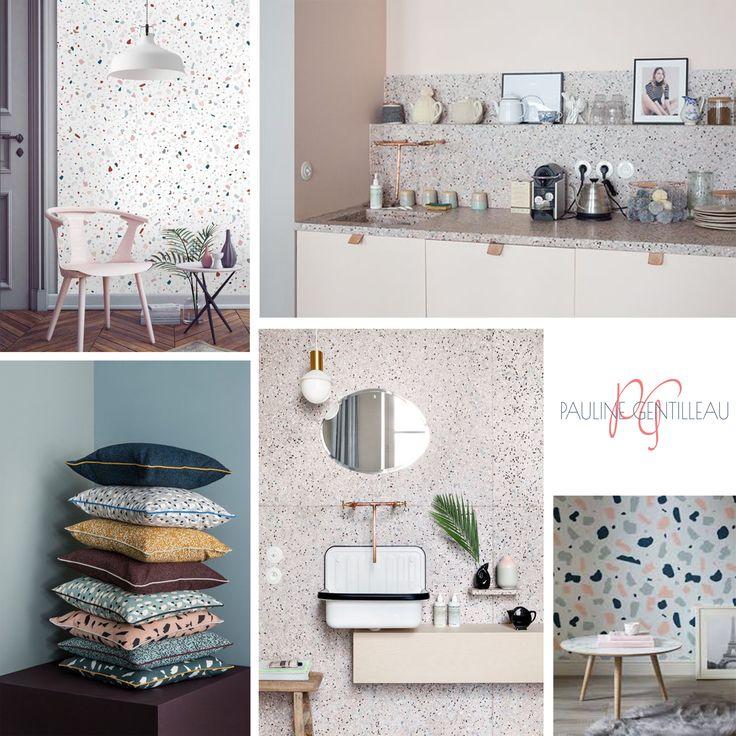 le terrazzo encore et toujours sur les murs les plans de travail ou les coussins j 39 adore. Black Bedroom Furniture Sets. Home Design Ideas