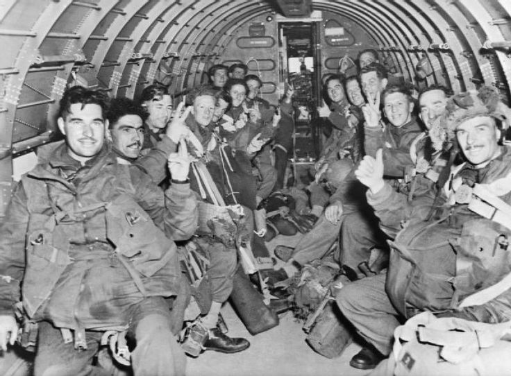 British paratroops inside a Dakota transport aircraft on their way to Holland during 1st Airborne Division's operation to Arnhem, 17 September 1944.