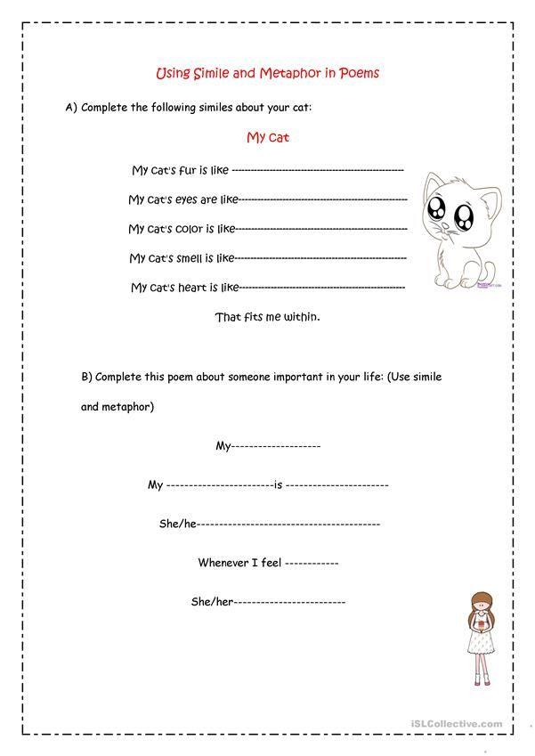Simile Metaphor Poems Similes And Metaphors Metaphor Poems Word Family Worksheets Similes worksheets for kids