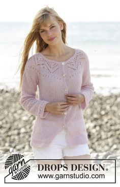 """Knitted DROPS jacket with lace pattern, round yoke and vents in the side """"Brushed Alpaca Silk"""".Free Pattern"""