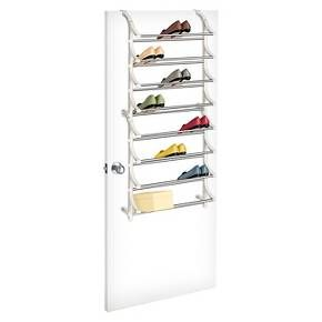 Lynk's 24 Pair Over Door Shoe Rack offers convenient behind the door storage space for organizing and neatly displaying shoes. Patented over door brackets adjust to fit any thickness of door, even commercial and dorm room doors. This over the door organizer can also be permanently mounted to a door or wall. Our strong commercial quality steel and polymer shoe rack organizer holds up to 24 pairs of shoes or 24 shoeboxes. Also available in a 36 pair version. Locks together in minutes. Moun...