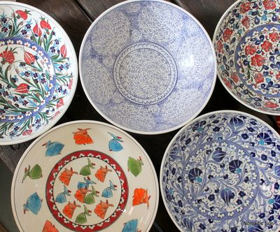 Turkish ceramic bowls - 30cm - handmade and hand painted in classic Samur style.