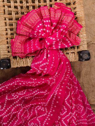 Fuchsia silk bandhej saree