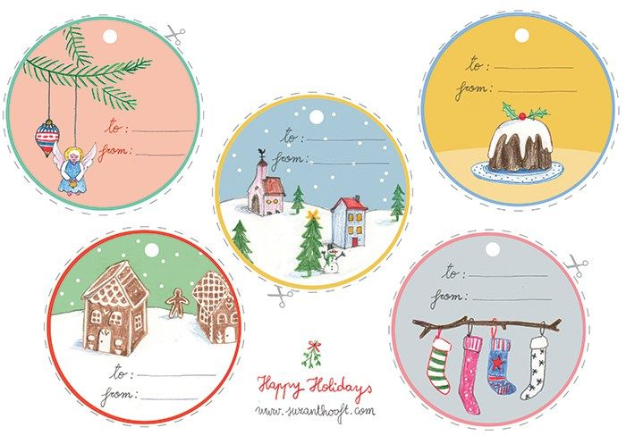 Free download Christmas gifttags - Suzan 't Hoof - Christmascard Countdown seen on HappyMakersBlog.com