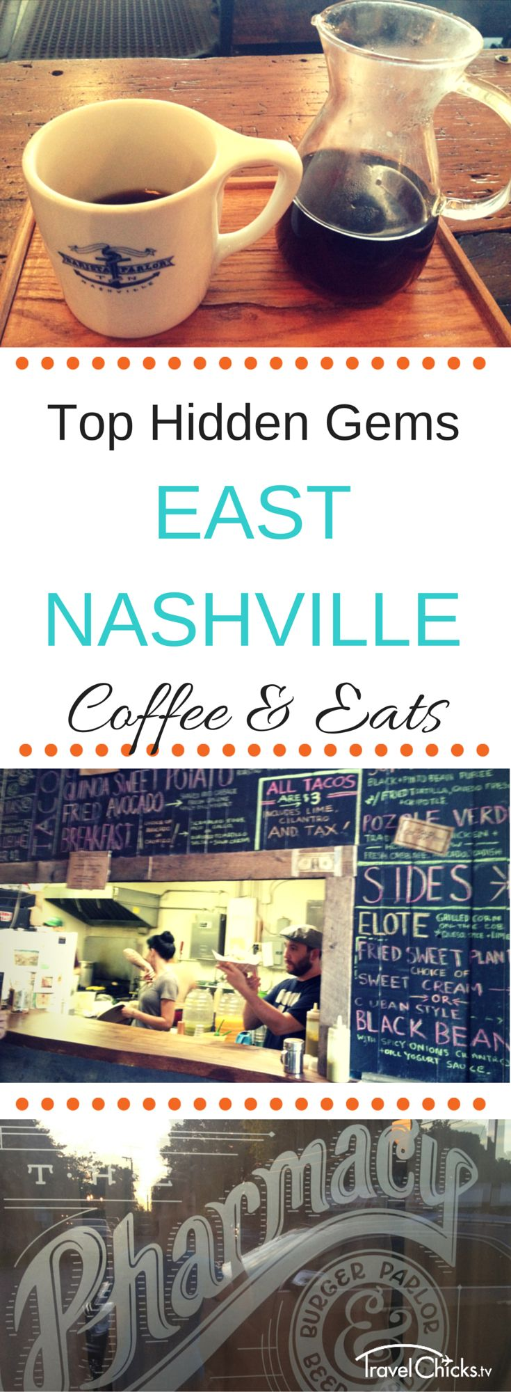 The Top Hidden Local Spots in East Nashville - Hip coffee shop and quaint places to eat! Restaurant Pharmacy Burger, Mas Tacos, Barista Parlor, and more #nashville