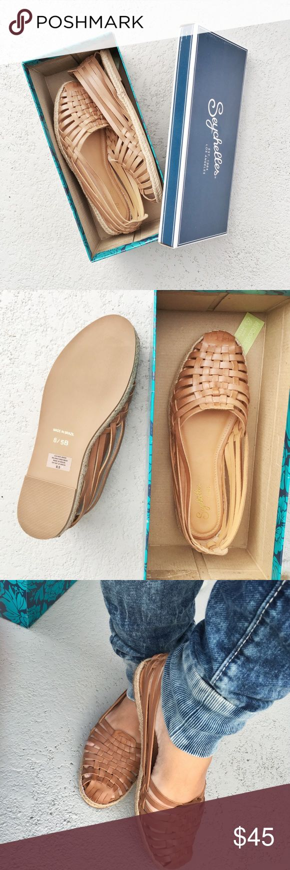 Leather tan sandals Genuine leather tan flats. True to size . Very comfy made in Brazil Seychelles Shoes