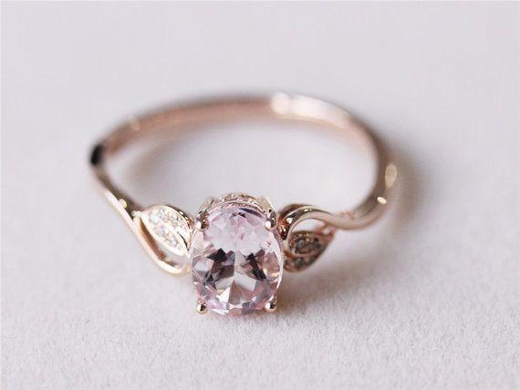 6x8mm+Oval+Morganite+Ring+Diamond+Morganite+by+AbbyandWills