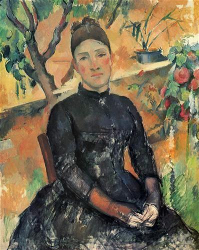 Madame Cezanne in the Greenhouse - Paul Cezanne