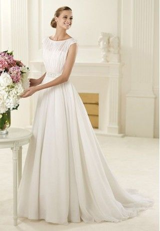 Chiffon Bateau A-Line Elegant Wedding Dress - Bride - WHITEAZALEA.com