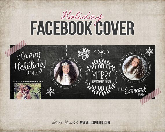 Christmas Chalkboard Facebook Cover - Photo Collage - Holiday Facebook Photo Cover - Facebook Timeline Photography - INSTANT DOWNLOAD