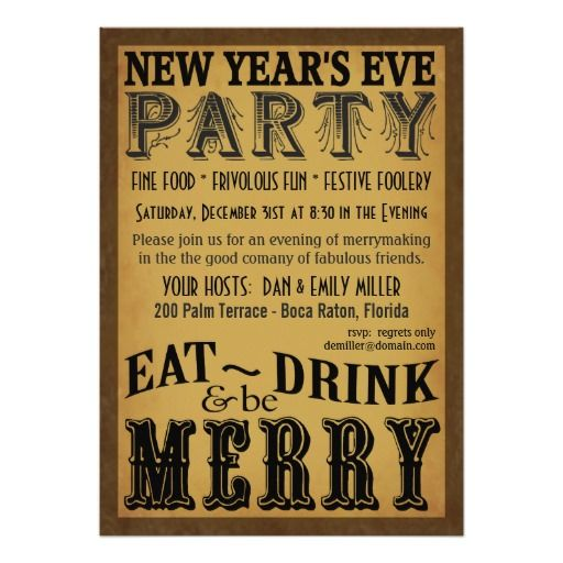 Eat Drink Be Merry New Years Eve Invitations Artwork designed by SquirrelHugger. Made by Zazzle Invitations in San Jose, CA  #madeinusa