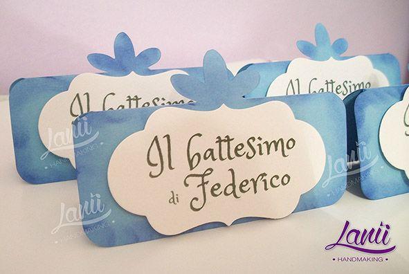 Battesimo: cartoncino decorativo per tavoli invitati e confettata