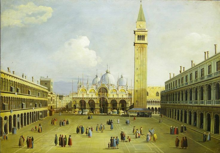 Reproduction of a painting by Canaletto era second half 'of the eighteenth century, depicting the Piazza San Marco in Venice, market day, hand painted in oil on canvas.