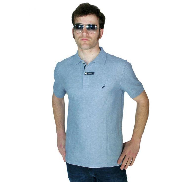 NAUTICA Ανδρική μελανζέ κοντομάνικη πικέ πόλο μπλούζα K71000