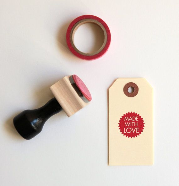 Made With Love Rubber Stamp (Wood Mounted) Petite Starburst Design with optional wooden handle (SP701) for Labeling Homemade, Handmade Items