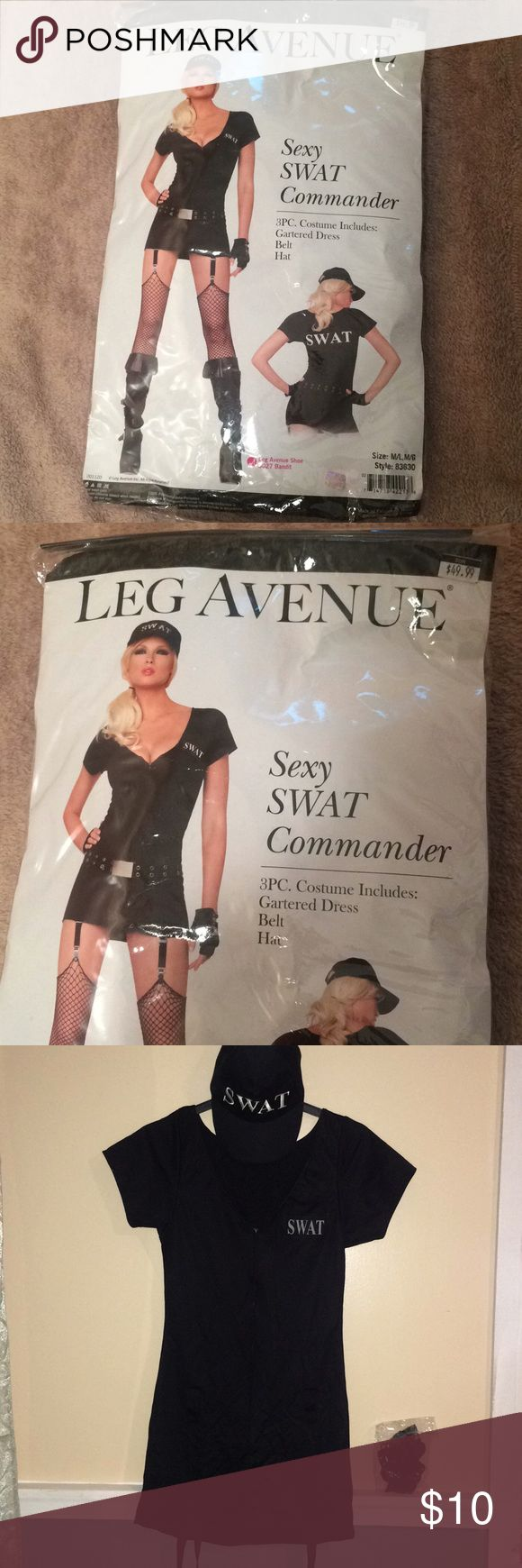 Halloween Costume! SWAT lady Halloween Costume! SWAT lady! I only wore this costume once. Please view all pictures. Belt is missing, and one of the clips fell off from the back. Perfect to wear for a couple of hours! Size is between 6-8. Leg Avenue Dresses Mini