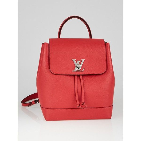 Pre-owned Louis Vuitton Poppy Leather Lockme Backpack (40.025 ARS) ❤ liked on Polyvore featuring bags, backpacks, purses/backpacks, leather knapsack, one shoulder backpack, louis vuitton bags, leather backpack and lightweight rucksack