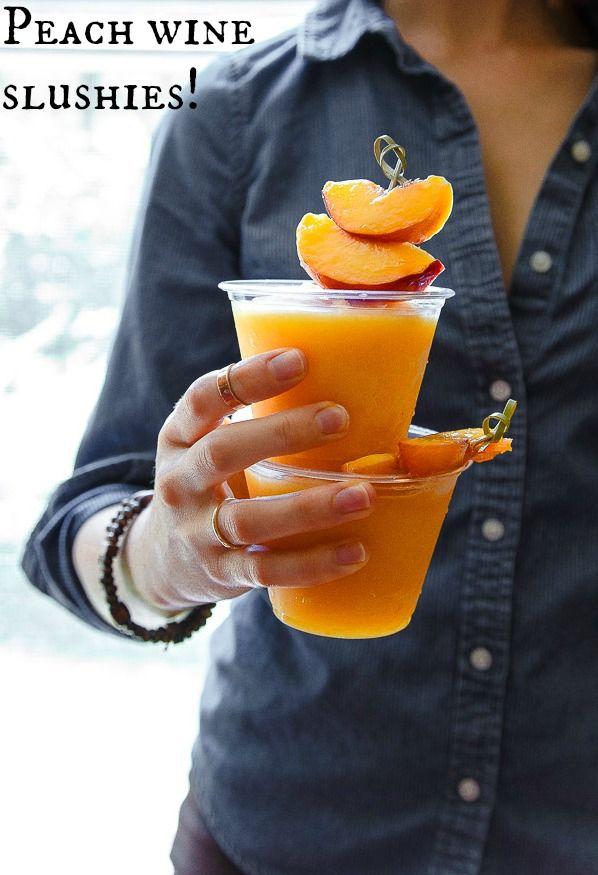 Peach White Wine Slushies.