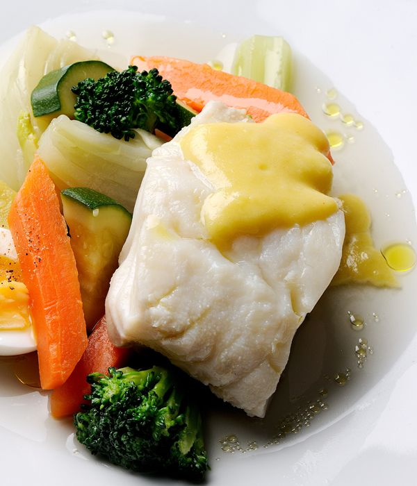 Pascal Aussignac's authentic cod fillet dish is a mainstay of Provençal cuisine for a reason: the flavours of cod loin and a garlicky mayonnaise combine like a dream. Ask your local fishmonger to prepare the cod as Pascal advises - with bones and trimmings included - and garnish with a boiled egg if you wish.
