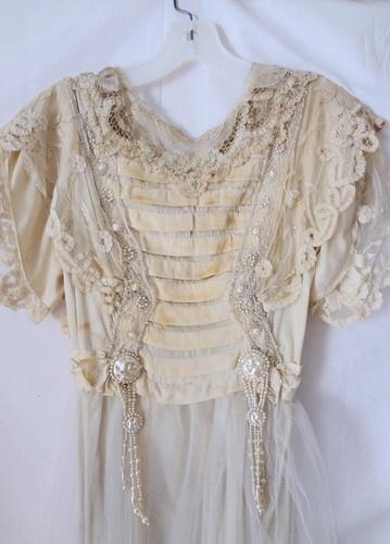 Antique Victorian Silk Satin Beaded Lace Embelished Wedding Dress w/Train | eBay