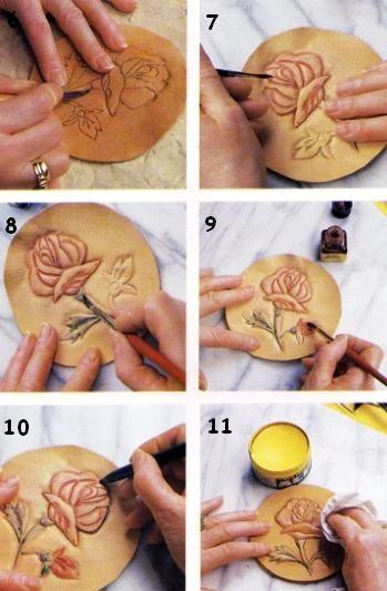 artesanias en cuero 009 Repujado en cuero de una flor