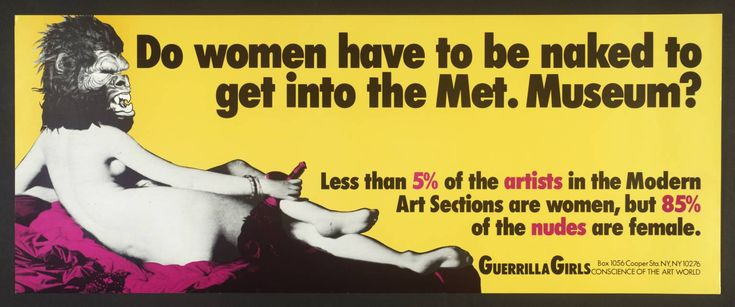 Guerrilla Girls, [no title], 1985-90, screenprint on paper, 28 x 71 cm, (Tate)