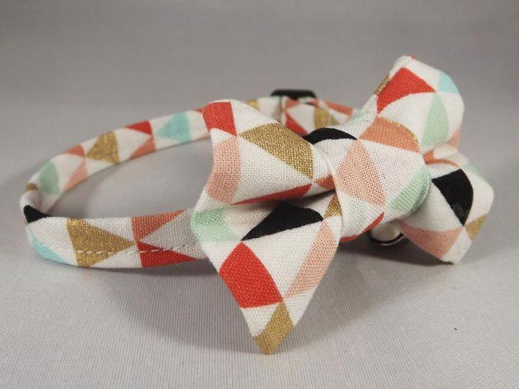 Geometric Cat Collar, Mint Cat Collar, Coral Cat Collar, Kitten collar, Breakaway Cat Collar, bell and Collar flower or Bow tie optional
