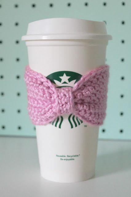 Crocheted Bow Coffee Sleeves