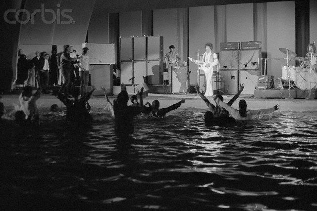 Jimi Hendrix Concert At The Hollywood Bowl On Sept 14th 1968 The Pool Was Removed Shortly After