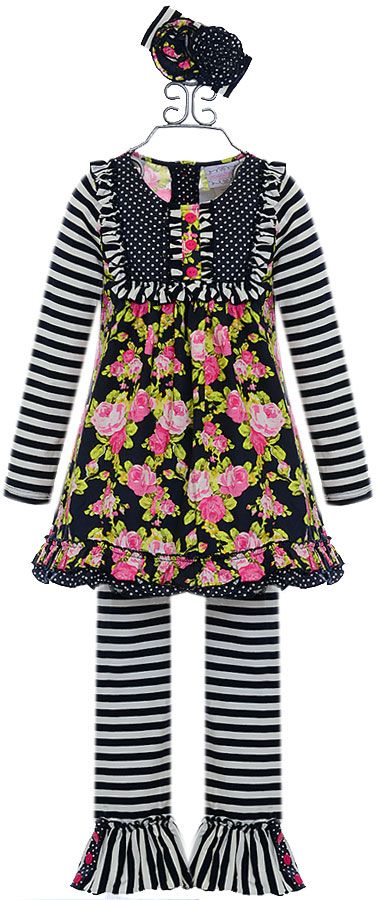 Serendipity Girls Floral Tunic with Leggings