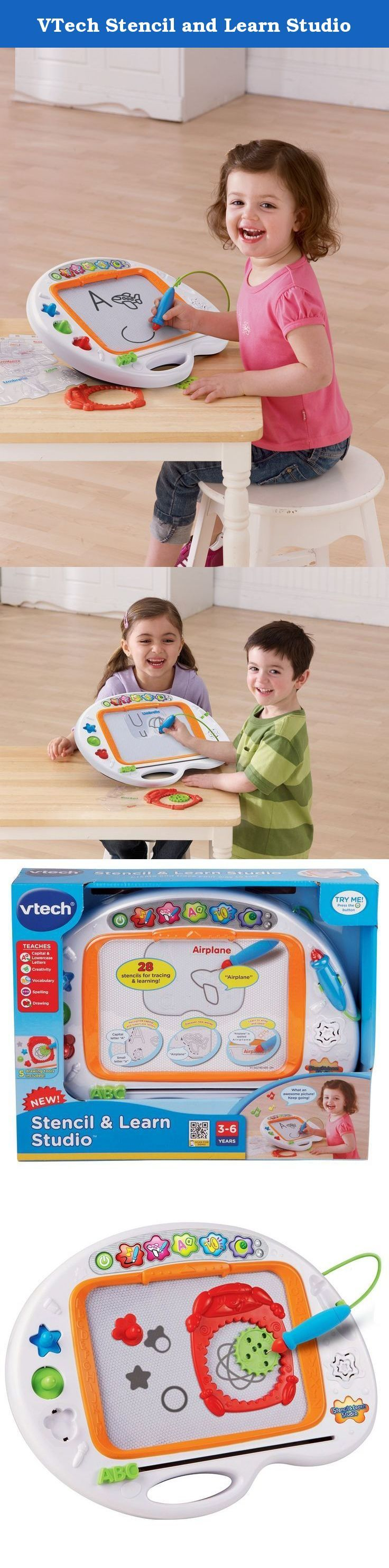 VTech Stencil and Learn Studio. The VTech Stencil & Learn Studio is an innovative magnetic drawing board that will enhance your child's creativity as they learn! This electronic learning toy comes with 28 different stencils that feature letters, numbers, and shapes. As your child inserts each stencil into the special slot, the board recognizes the card and verbally guides your child through tracing and writing what's on the card. Also included are Scribble Gears design tools, three…