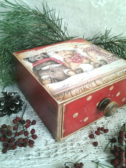 Корзины, коробы ручной работы. Короб для сладостей,для подарка Мишки новогодние. Марина Еремина Vestadekor. Ярмарка Мастеров. Короб для сладостей